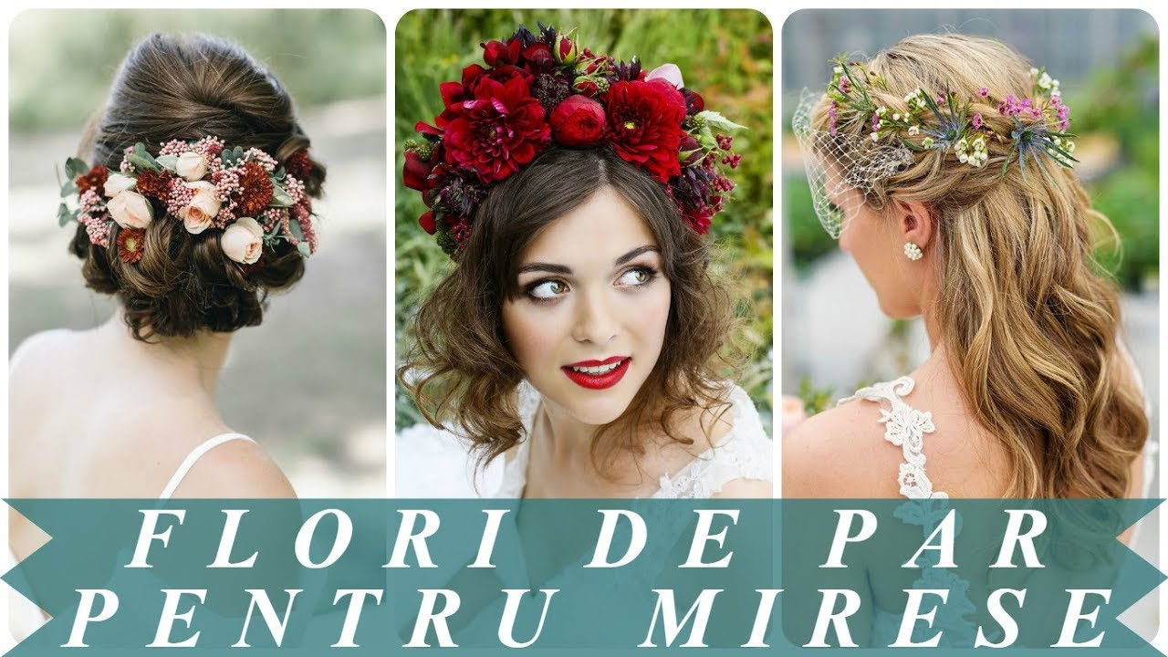 Coafuri Mireasa Cu Flori Naturale In Par 2018