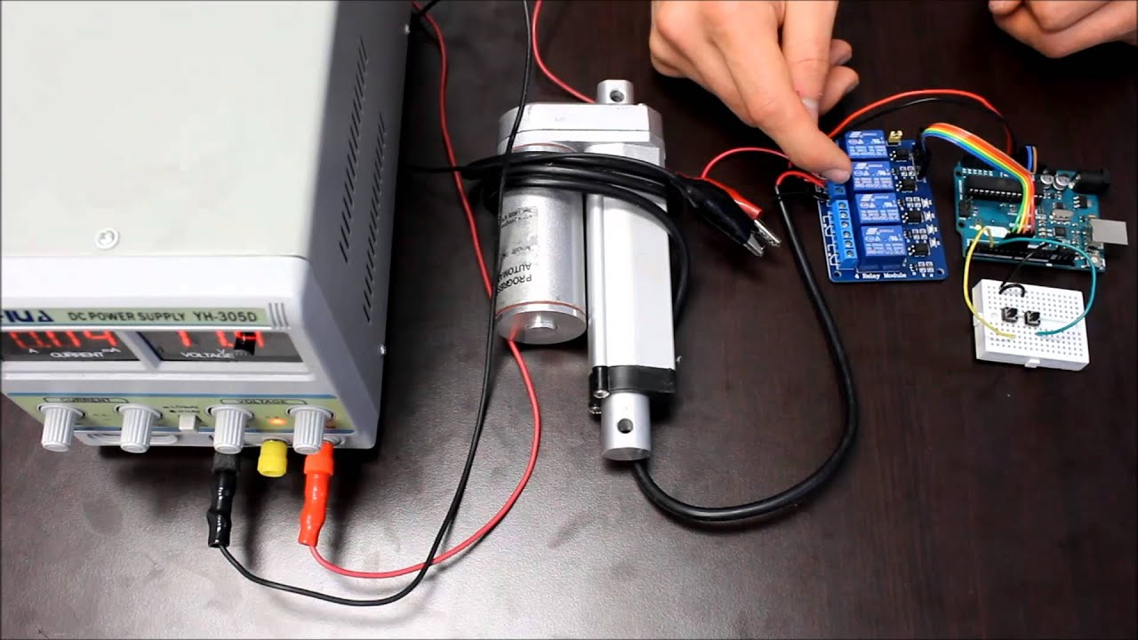 How To Use Relays Control Linear Actuators Youtube Actuator Schematic