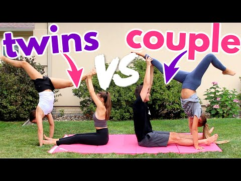 Twins VS Couple Acro Challenge (someone gets hurt)