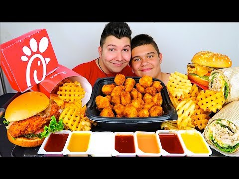 My Little Brother Tries Chick-Fil-A For The First Time • MUKBANG