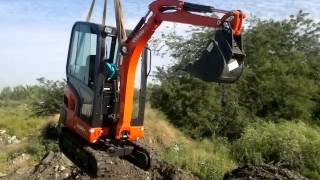 Разгрузка мини-экскаватора Kubota KX019-4(Транспорт мини-экскаватора кубота. Перегрузка со шторы на КМУ, через верх. Краснодар., 2014-09-07T20:30:19.000Z)