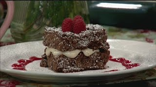 Gluten-free Chocolate Chip Brownies With Raspberry Coulis