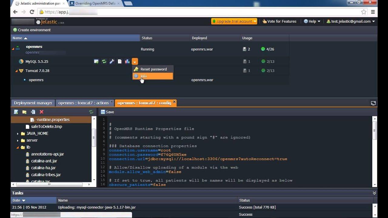 OpenMRS Java Cloud Hosting  Tomcat Example  | Jelastic Dev Docs