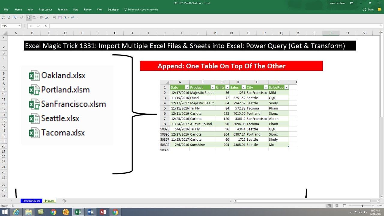 excel magic trick 1331 import multiple excel files sheets into excel power query get transform youtube