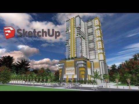 Sketchup Modeling 32 Level Apartment Building step by step
