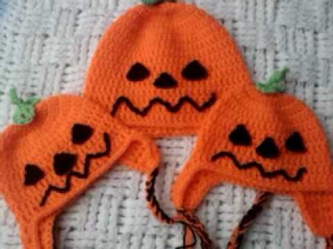 8b00891c13bf4 Halloween pumpkin crochet ear flap hats - YouTube