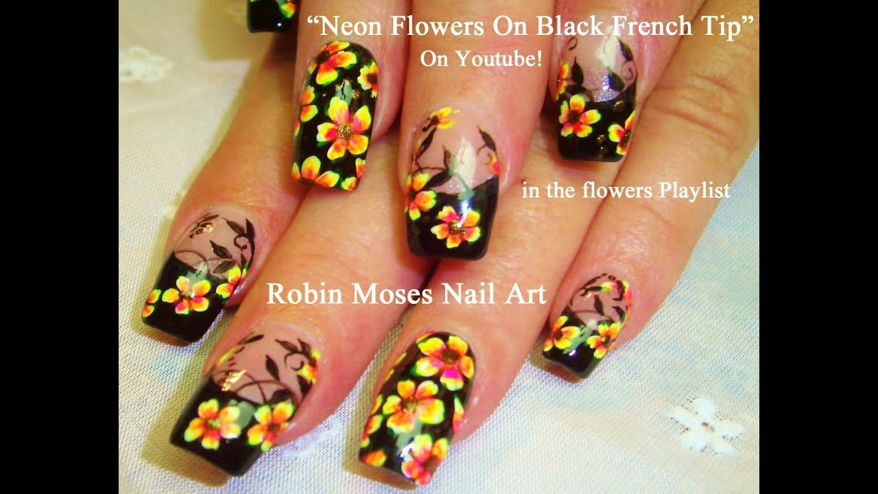 DIY Flower Nails | Neon flowers With Black Tips Nail Design Tutorial ...