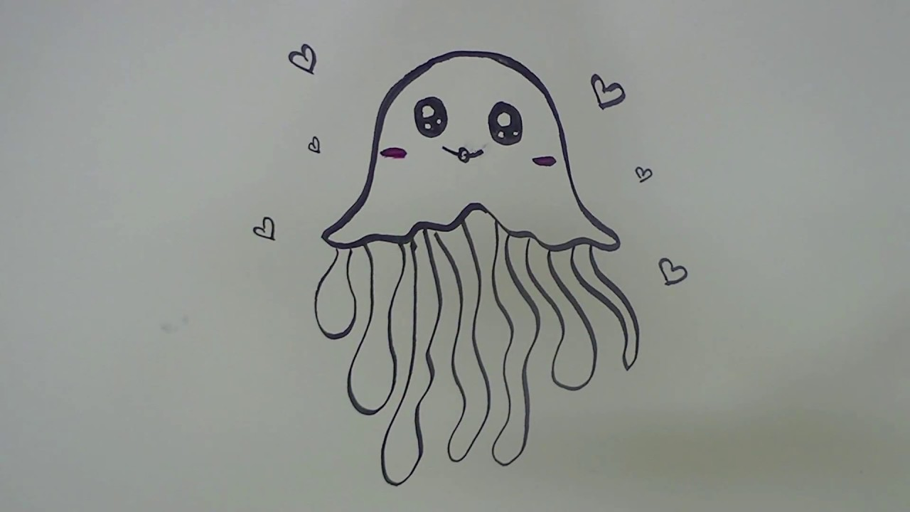 Easy Cute Jelly Fish Drawing For Kids Youtube