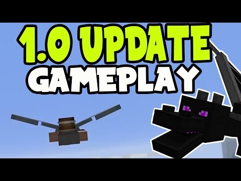 MCPE 1.0 UPDATE GAMEPLAY!! Minecraft Pocket Edition 1.0 ELYTRA WINGS, THE ENDER DRAGON AND MORE!