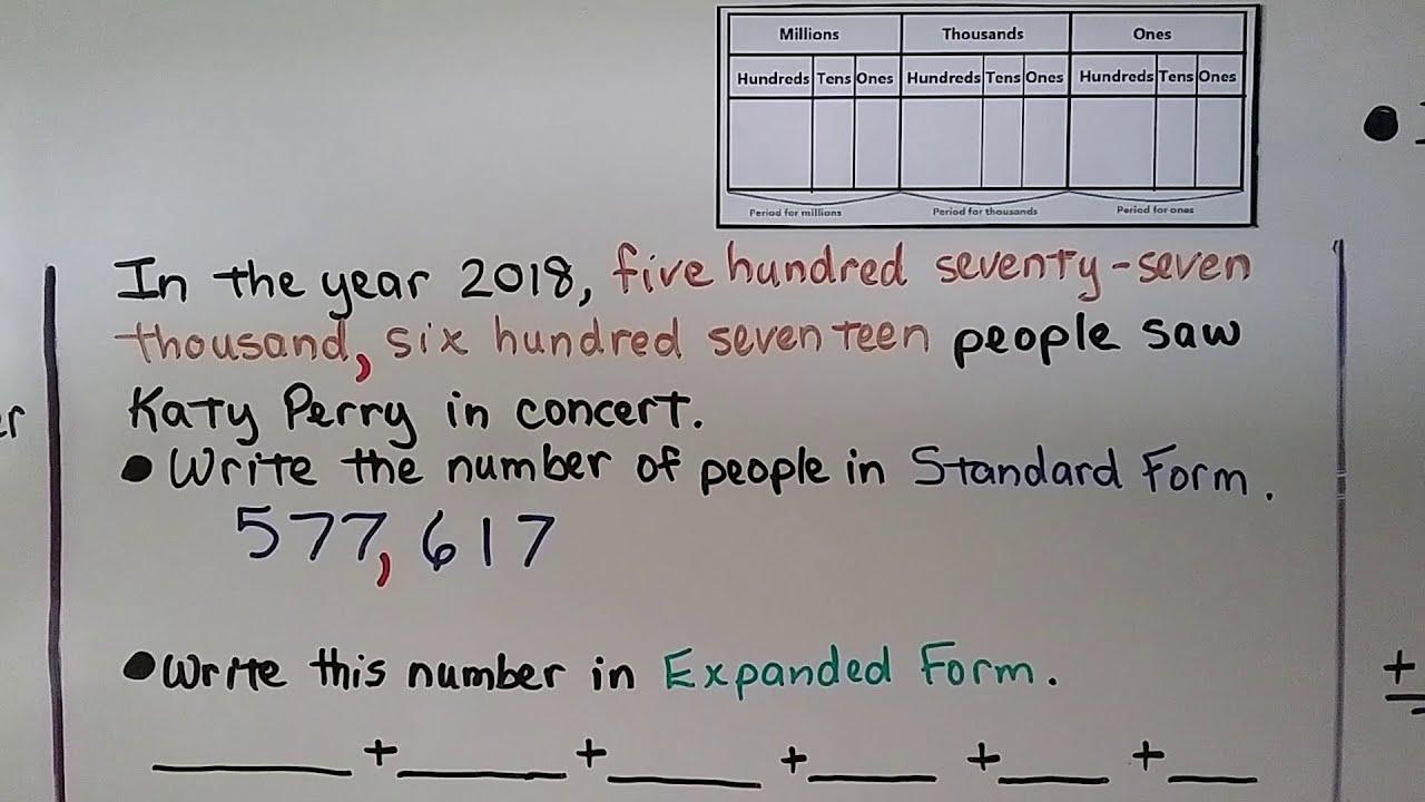 4th Grade Math 1 2 Read And Write