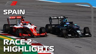 Race Leaders Collide TWICE! F3 Race 2 Highlights | 2021 Spanish Grand Prix