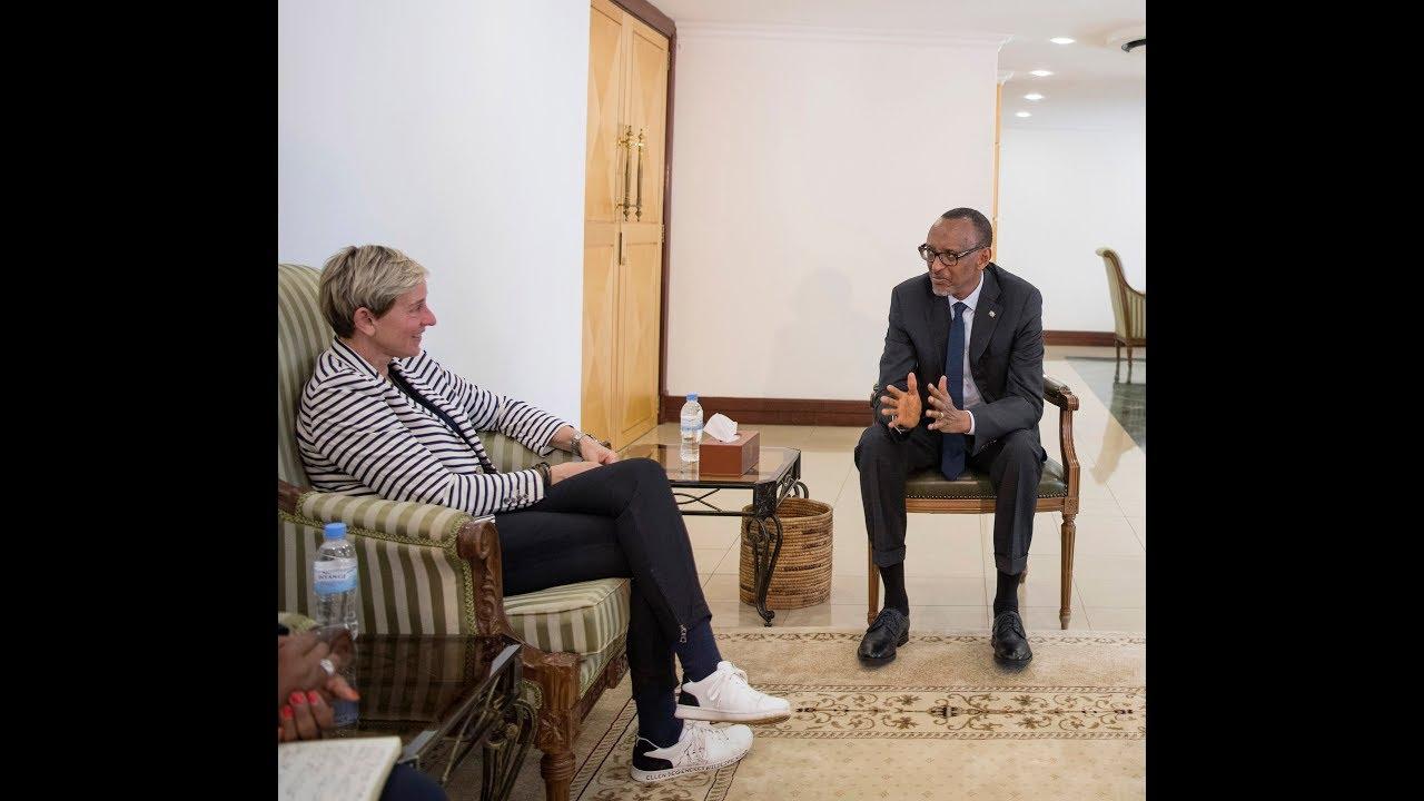 Ellen DeGeneres Meets Kagame, Commemorates Genocide Victims