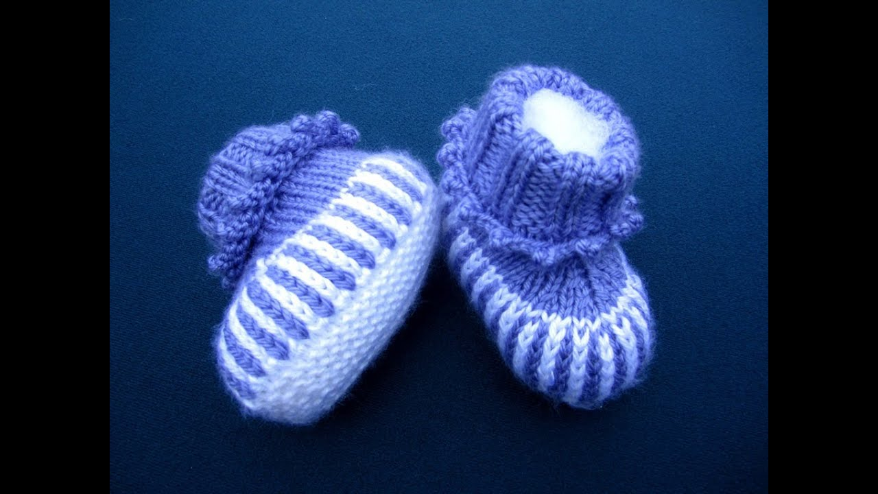 How to Sew Stockinette Stitches Baby booties - YouTube
