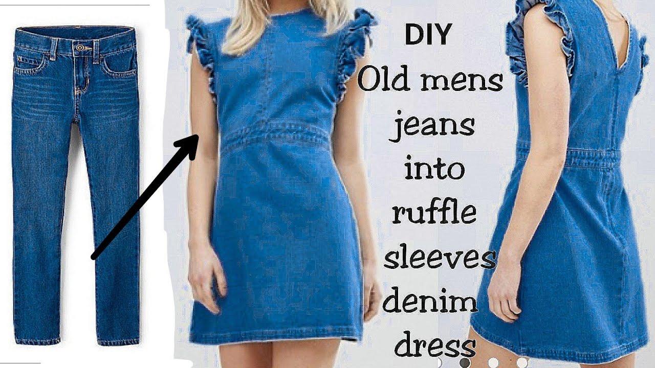 5fc8858ac6 DIY   Convert Reuse Old Men s Jeans into RUFFLE SLEEVE DENIM DRESS ...