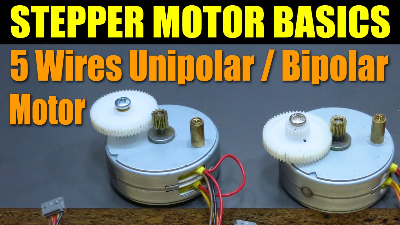 Stepper Motor Basics 5 Wires Unipolar Bipolar Youtube 8 Wire Wiring Diagram
