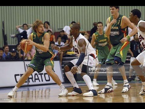 USA vs. Lithuania 2006 FIBA Basketball World Championship Exhibition FULL GAME Lithuanian Language