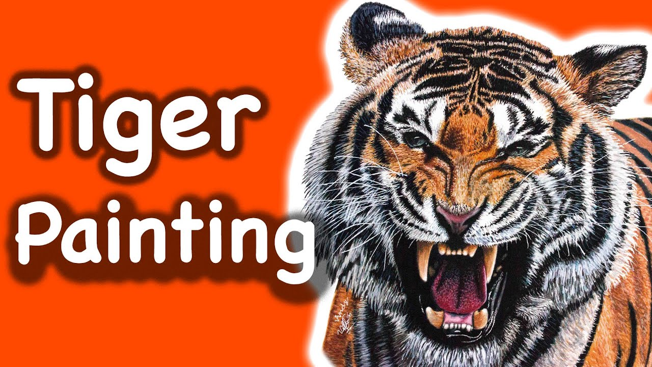 speed painting of a tiger realistic time lapse painting youtube
