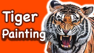Speed Painting of a Tiger - realistic time lapse painting