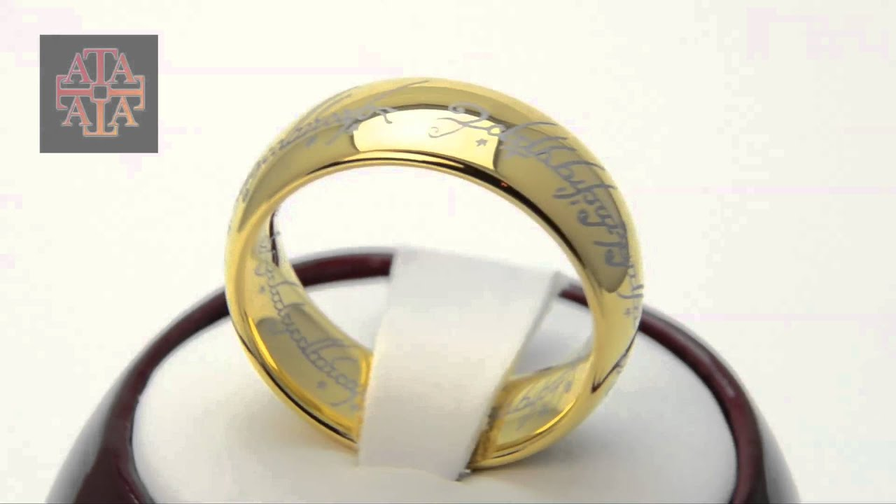 Tungsten Ring LOTR Lord of The Ring Laser Inscriptions 18k Gold