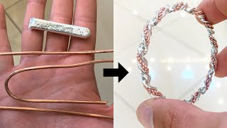 Making a Twisted Bangle from Silver and Copper!   Jewellery Making   How it's made   4K