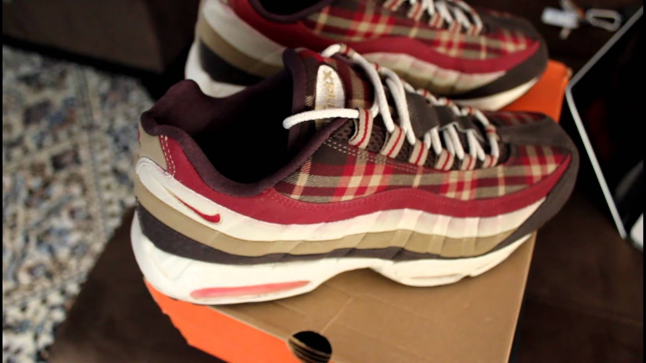 nike air max 95 grey red plaid
