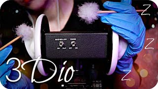 ASMR 3Dio Triggers👂(NO TALKING) Ear Cleaning, Brushing, Konjac Sponge, Cotton, Gloves, Crinkle +