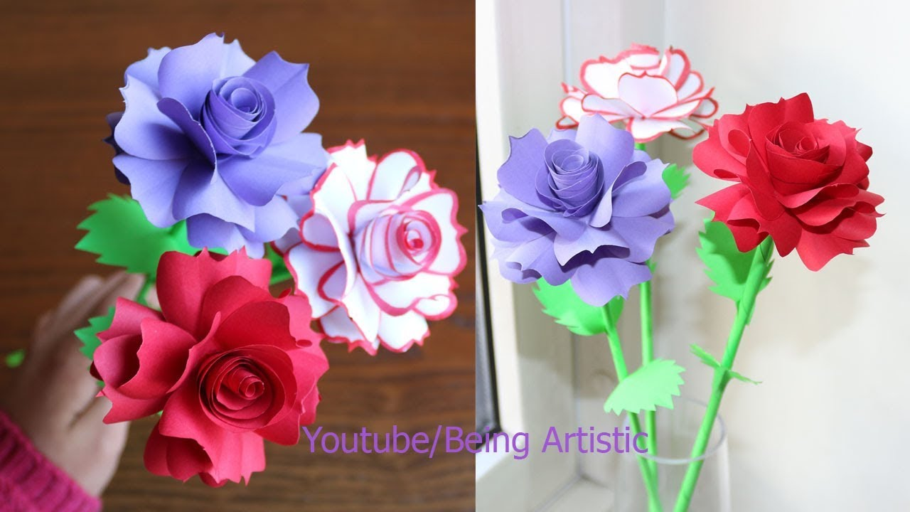 How To Make Paper Rose Flower Diy Handmade Craft Paper Craft