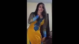 Desi punjabi Girl Private Dance silky reshmi yellow salwar kameez