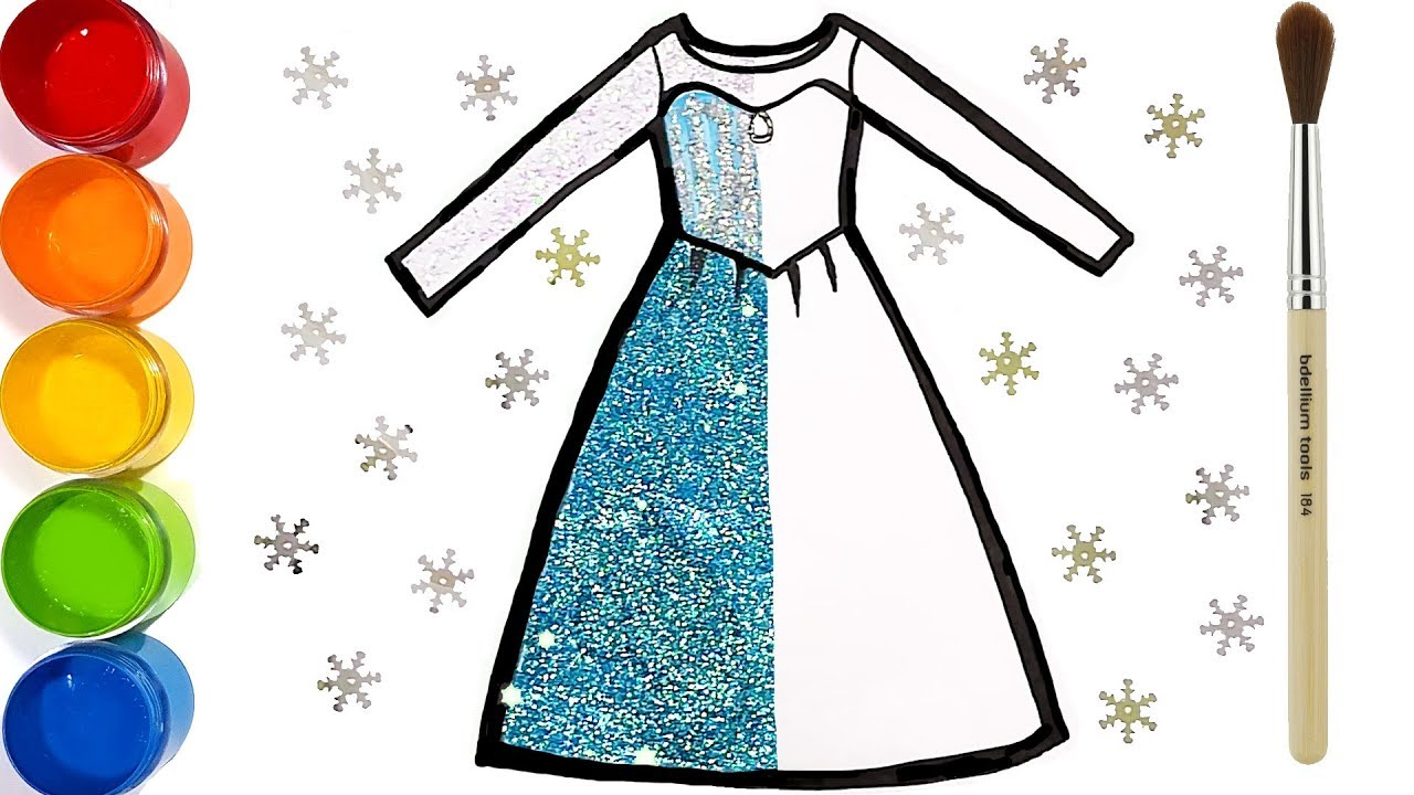 Glitter Frozen Elsa Dress drawing and coloring | Learn numbers| Elsa ...