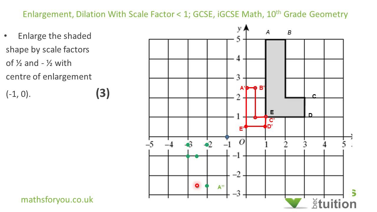 Worksheet Transformation Geometry For Grade 3 transformation by enlargement dilation with scale factor less than one igcse 10th grade geometry youtube