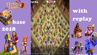 TH 11 war base 2018 | clash of clans | with replay | new update