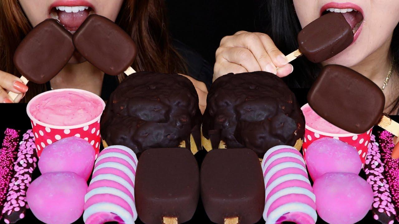 ASMR BLACK PINK DOVE ICE CREAM BARS, GIANT CHOCOLATE CREAM PUFFS, STRAWBERRY MOCHI ICE CREAM 먹방