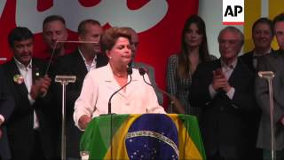 Rousseff and supporters celebrate re-election, Neves reaction