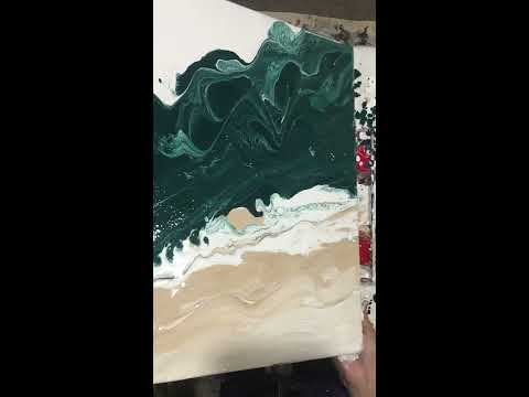 Fluid Acrylic pouring Technique. Turquoise beach waves.#(73).