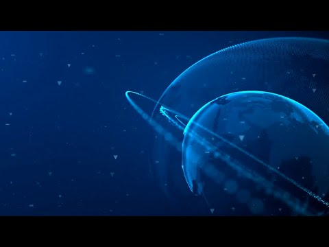 Digital Planet With Rings 01 Motion Graphics
