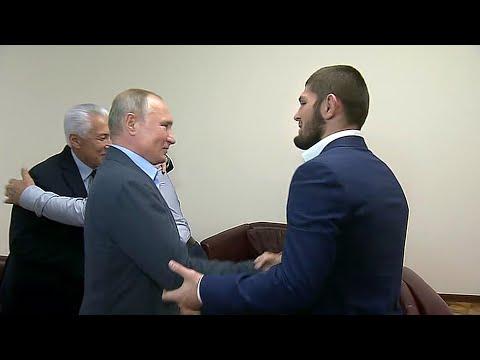 Глава государства поздравил с победой чемпиона Хабиба Нурмагомедова, который вернулся на родину.