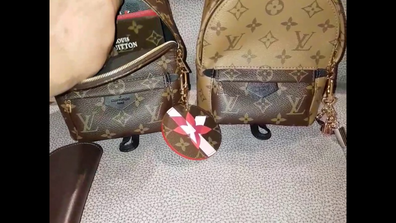WIMB   unpacking and packing my LOUIS VUITTON PALM SPRINGS MINI MONO AND  REVERSE BACKPACK 7f8cb03140