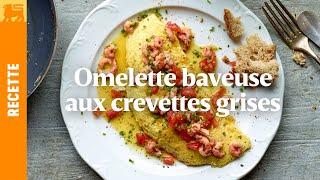 Omelette baveuse aux crevettes grises