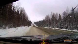 28.11.2015 Момент ДТП на трассе Воткинск - Ижевск (Удмуртия)
