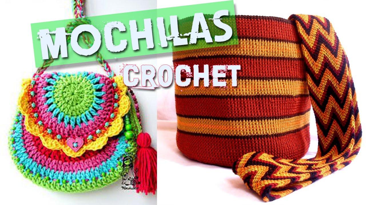 Mochilas y bolsos tejidos a crochet youtube - Como hacer bolsos tejidos ...