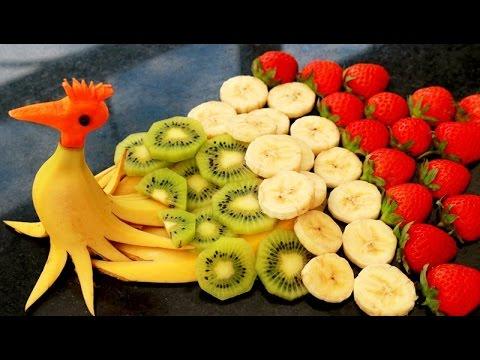 How to make banana decoration banana art fruit carving banana garnishes youtube for Comdecoupe fruit decoration