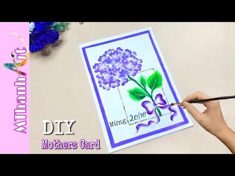 Cách Làm Thiệp 20/10 | Làm Thiệp handmade | DIY Mothers Card | Vẽ hoa Cẩm Tú Cầu | Mthanh Art