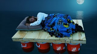 Sleeping on Homemade Boats Overnight!! *DONT FALL OVERBOARD*