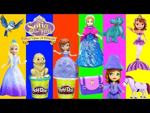 Play Doh Mermaid SOFIA THE FIRST Swimming with Mermaids Anna Elsa Magiclip Disney Surprise Eggs