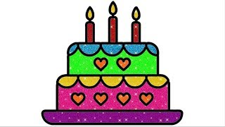 How To Draw Birthday Cake   Drawing of Cake   #BirthdayCake #coloresparaniños #learncolors #kids