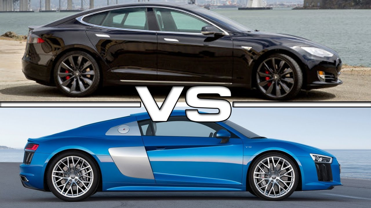 audi r8 e tron vs tesla model s race youtube. Black Bedroom Furniture Sets. Home Design Ideas