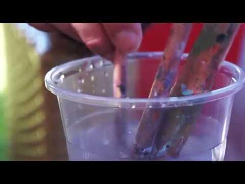 Washing Paint Brush 01 / Free Stock Footage (1080p)