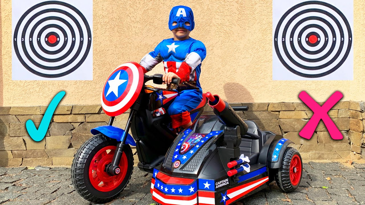 Pretend play like a Captain America - Unboxing power wheels bike and cars