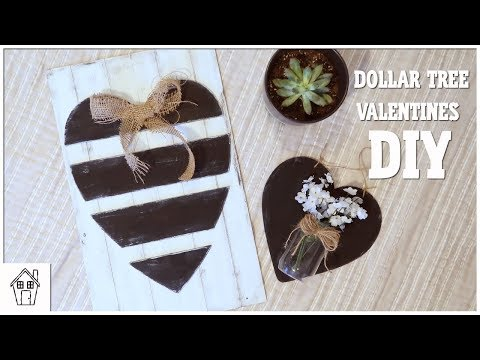 DIY DOLLAR TREE FARMHOUSE VALENTINES DAY SIGNS AND HANGING HEART