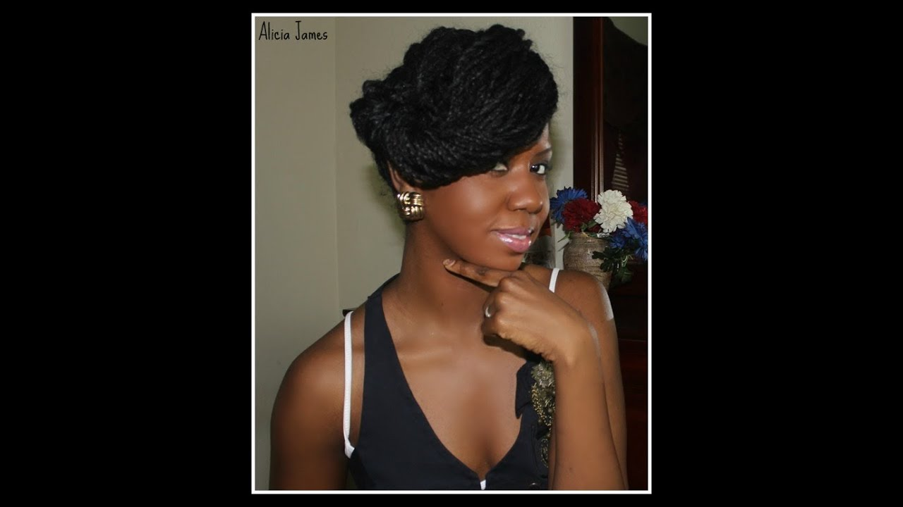 Funky Updo Natural Hairstyle Two Strand Twist Braids